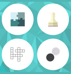 Flat icon play set of jigsaw pawn chequer and vector