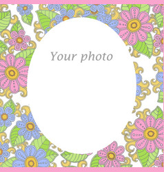 Floral template frame for your photo with flower vector