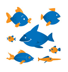 funny fish characters vector image