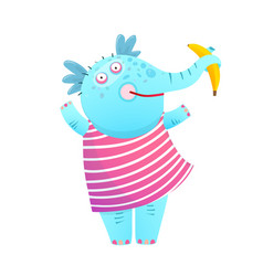 Funny kids elephant eating banana in dress vector