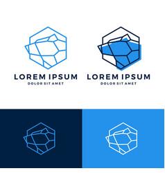 geometric bear logo line art outline download vector image