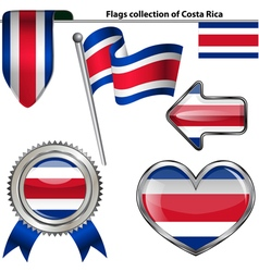 Glossy icons with Costa Rican flag vector