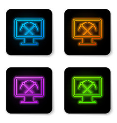 glowing neon mining concept with laptop and vector image