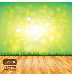 grass nature background wooden floor vector image vector image