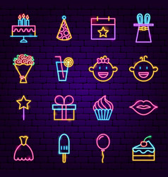 Happy birthday neon icons vector