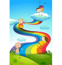 happy children on rainbow vector image