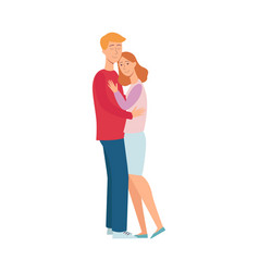 happy young couple hugging with smile vector image
