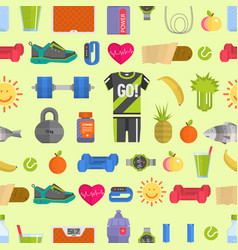 healthy lifestyle diet icons and sport sneakers vector image