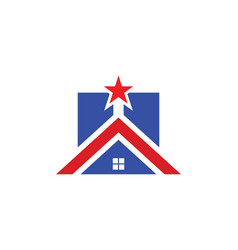 Home icon star realty logo vector