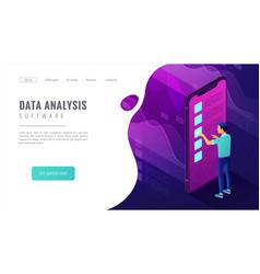 isometric big data analysis landing page concept vector image