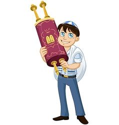 Jewish boy with talit holds torah for bat mitzvah vector
