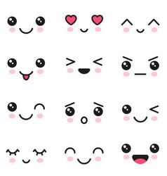 Kawaii emotions adorable characters icons vector