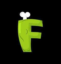 letter f zombie font monster alphabet bones and vector image