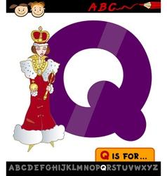 Letter q with queen cartoon vector