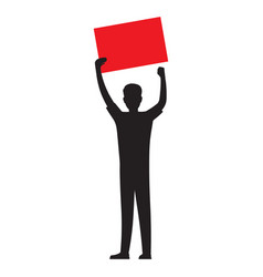man silhouette with red paper sheet vector image