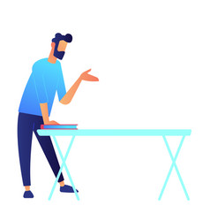 manager standing at table and speaking hand vector image
