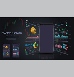 market trade binary option trading platform vector image