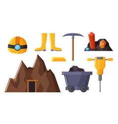 mining industry equipments and objects vector image