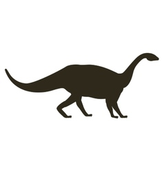 Monochrome silhouette with dinosaur mamenchisaurus vector