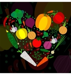 Paper vegetables flat style set in heart on a vector image
