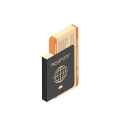 passport with tickets icon isometric isolated vector image