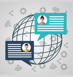 people internet world globe message talk dialog vector image