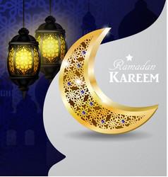 Ramadan greetings gold moon on a dark background vector