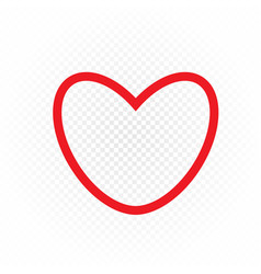red color outline heart sign vector image