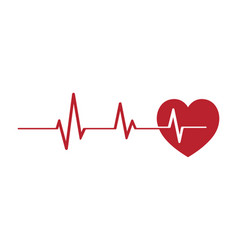 red heartbeat pulse line vector image