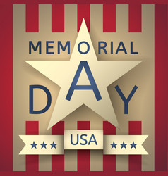 retro memorial day background with the emblem vector image
