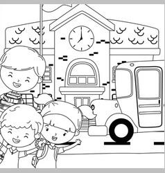 School building kids and bus design vector