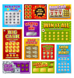 Scratch win cards set vector