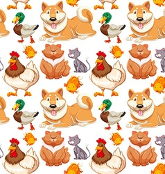 Seamless background with many cute pets vector image