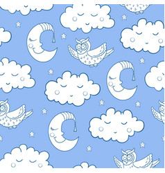 Seamless childish pattern with cartoon owl fluffy vector