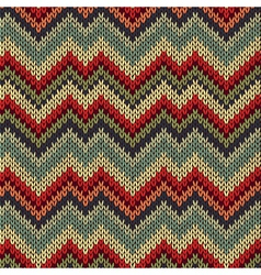 Seamless Ornamental Style Knitted Pattern vector image