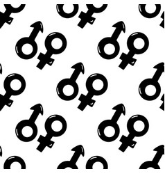 Seamless pattern made from doodle male and female vector