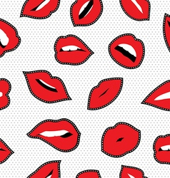 Seamless pattern with lipstick kiss stitch patches vector image