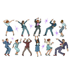 set collection dancing business people men and vector image