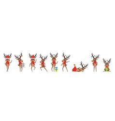 set funny deers christmas reindeers cheerful vector image
