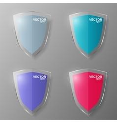 Set glass shields vector
