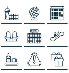 Set of 9 travel icons includes world sphere vector