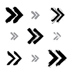 Set of hand-painted rewind signs isolated on white vector