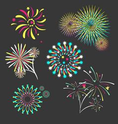 set of isolated brightly celebration firework vector image