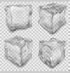 set of transparent gray ice cube vector image