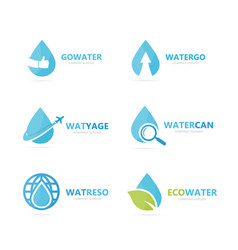 set of water drop logo combination oil and vector image