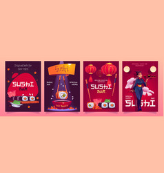 set sushi bar flyers with japanese food vector image