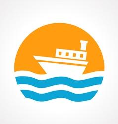 Ship in sea vector