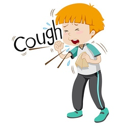 Sick boy coughing hard vector