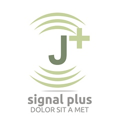 Signal letter j plus green alphabet wireless vector