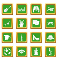 Spain travel icons set green vector